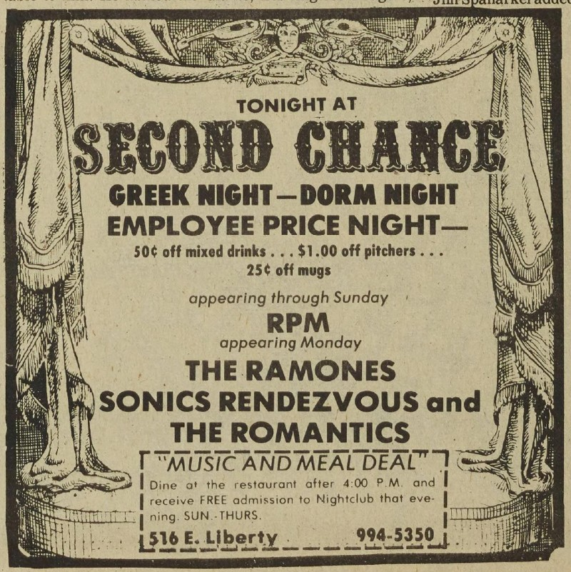 Ad for The Ramones at The Second Chance, 1979, in the Michigan Daily