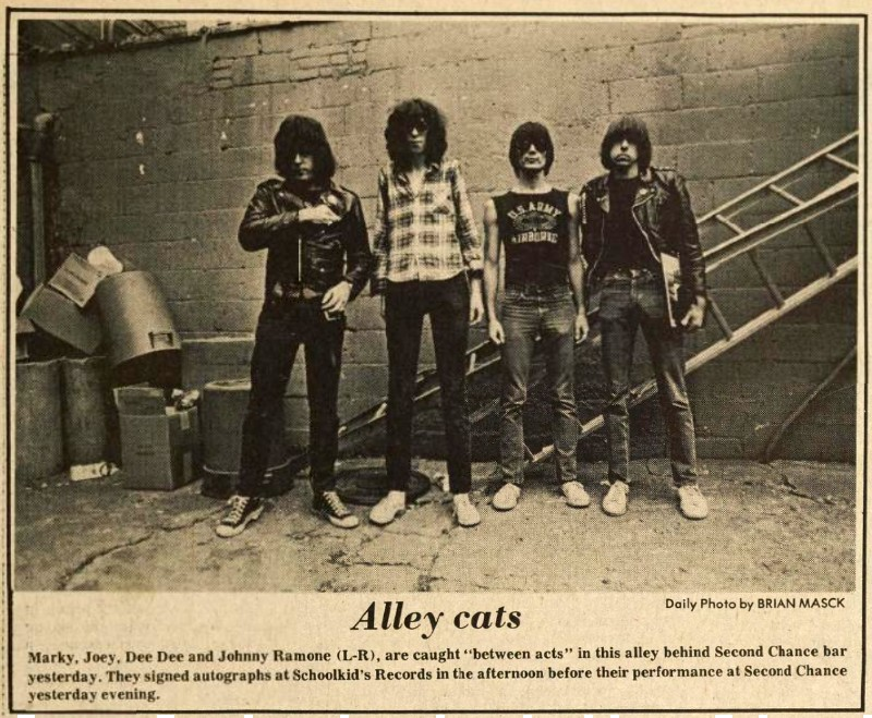The Ramones in the alley behind The Second Chance, 1981