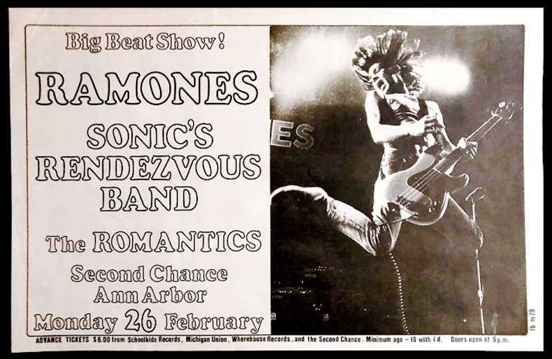 Telephone pole ad for The Ramones' February 26, 1979, show in Ann Arbor.