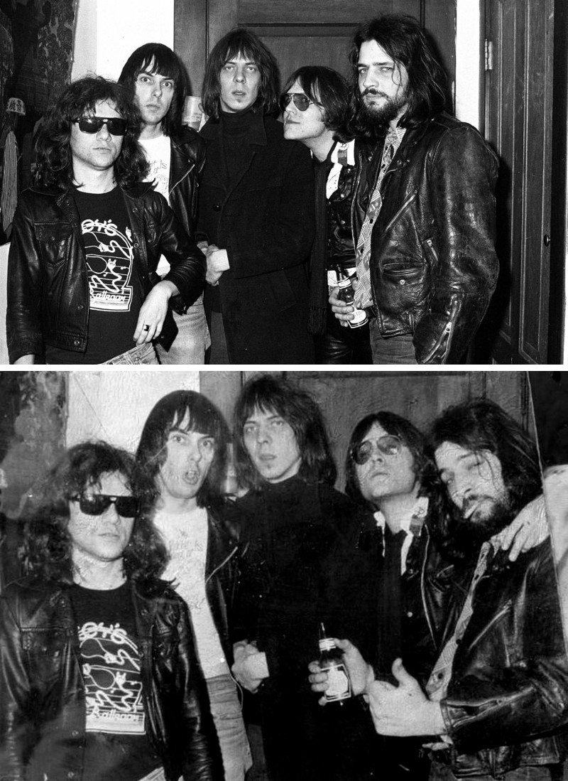 "Tommy Ramone, Johnny Ramone, Fred ""Sonic"" Smith, Ron Asheton, and Scott Asheton backstage at The Second Chance, Ann Arbor, 1977; photo by Robert Mathieu."