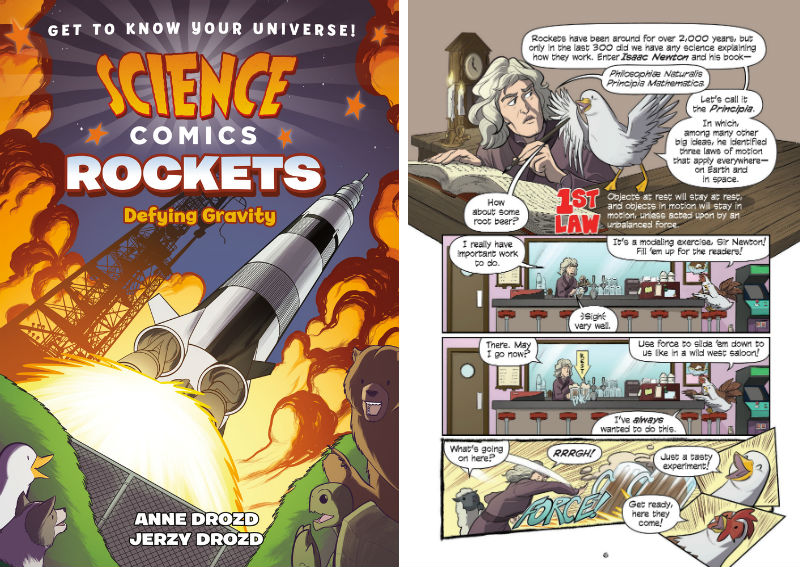 Science Comics: Rockets - Dying Gravity front cover and page