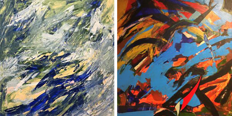 Ted Ramsey, two paintings from his Visual Symphony Series