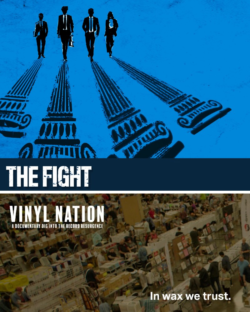 Logos for the films The Fight and Vinyl Nation