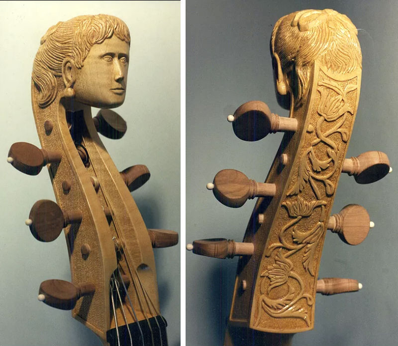 Tom Rein's viola da gamba headstock carving