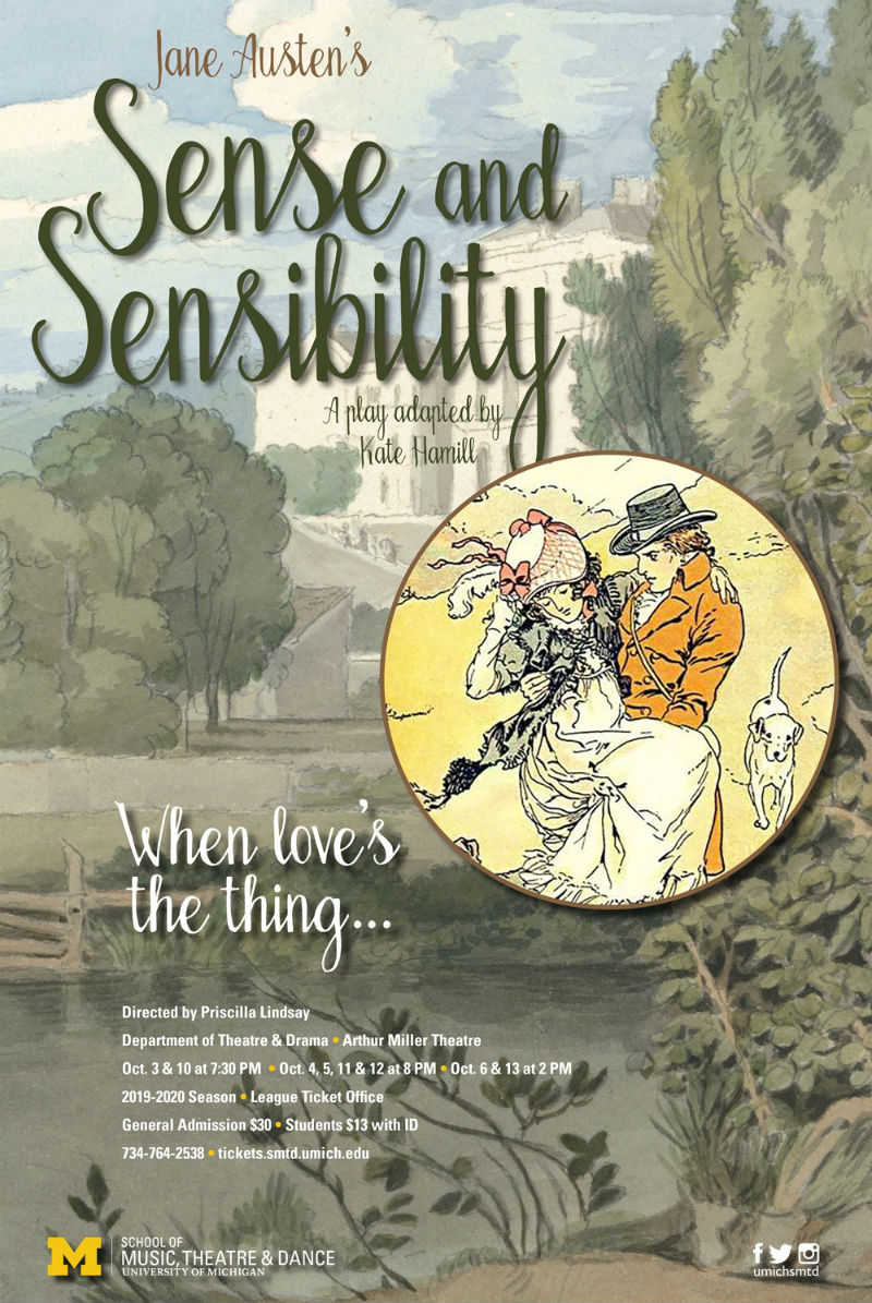 Poster for University of Michigan's production of Sense and Sensibility