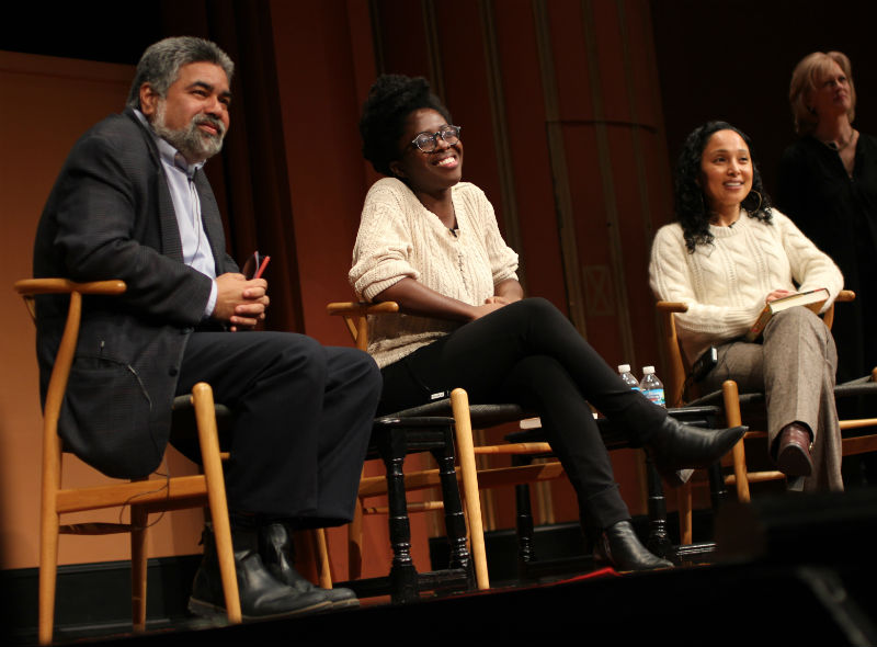 U-M professors Guarev Desai and Aida Levy-Hussen joined author Yaa Gyasi (center) at Rackham Auditorium on Feb. 6.